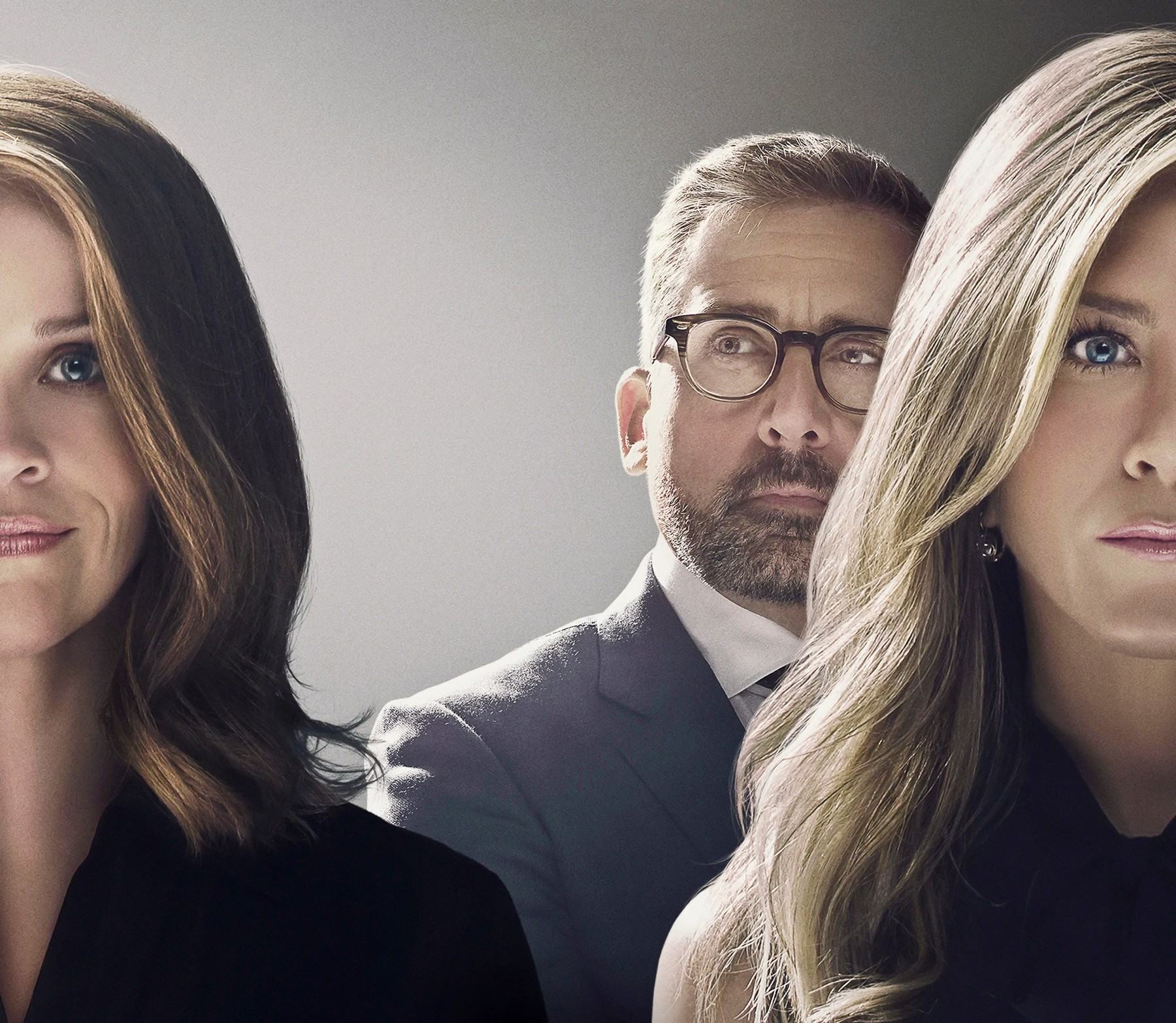USA. Reese Witherspoon ,  Jennifer Aniston and Steve Carell in the ©Apple TV new series: The Morning Show (2019) .  Plot: an inside look at the lives of the people who help America wake up in the morning, exploring the unique challenges faced by the women (and men) who carry out this daily televised ritual, Image: 482229462, License: Rights-managed, Restrictions: Supplied by Landmark Media. Editorial Only. Landmark Media is not the copyright owner of these Film or TV stills but provides a service only for recognised Media outlets., Model Release: no, Credit line: Supplied by LMK / Landmark / Profimedia