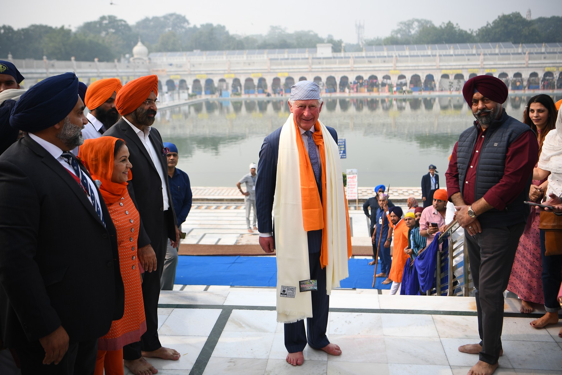 The Prince of Wales barefooted during his visit to the Bangla Sahib Gurdwara Sikh Temple, New Delhi, to celebrate the 550th anniversary of the birth of Guru Nanak, the founder of Sikhism, on day one of the royal visit to India., Image: 482614144, License: Rights-managed, Restrictions: , Model Release: no, Credit line: Victoria Jones / PA Images / Profimedia