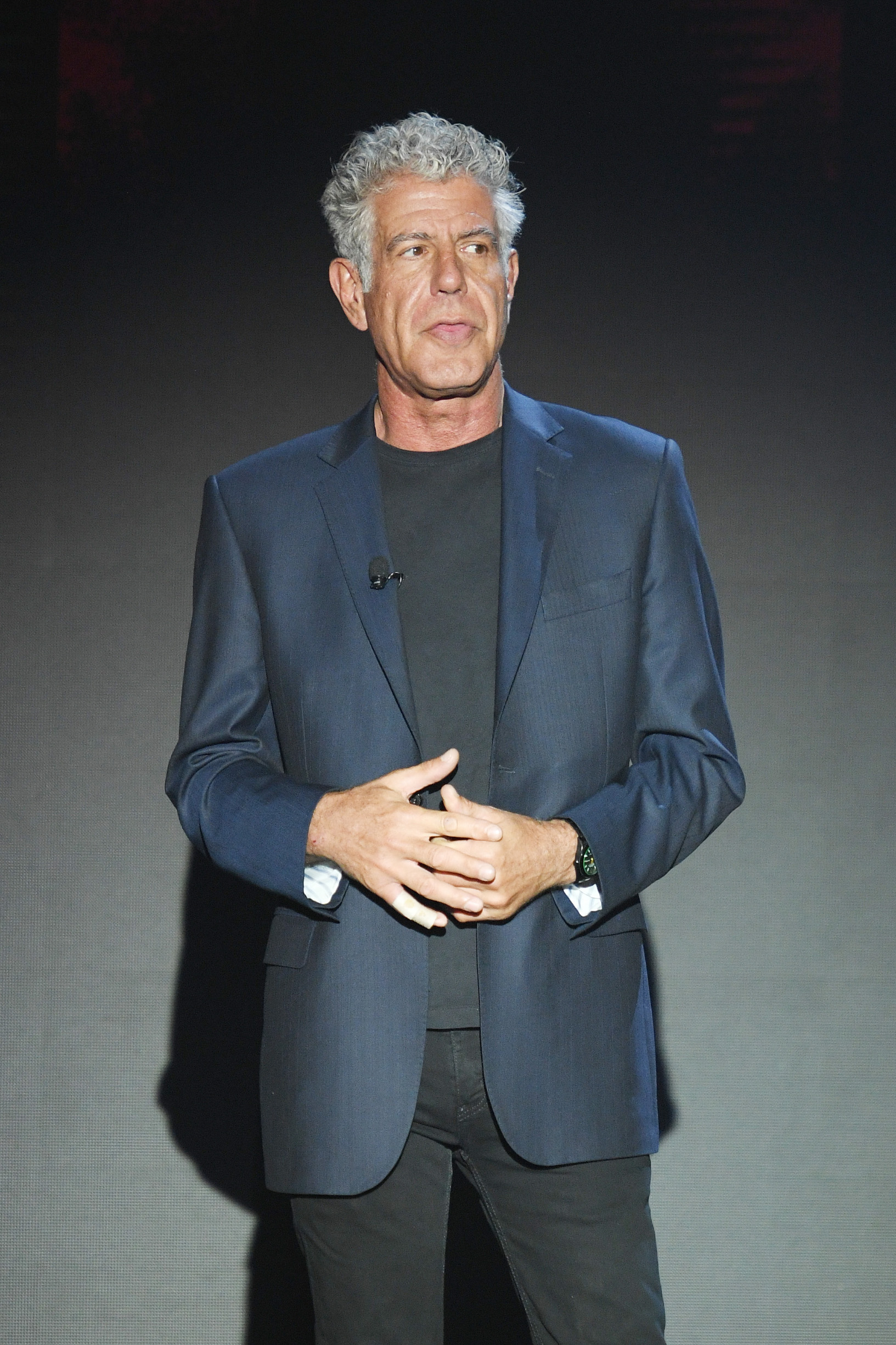 NEW YORK, NY - MAY 17:  Anthony Bourdain speaks onstage during the Turner Upfront 2017 show at The Theater at Madison Square Garden on May 17, 2017 in New York City. 26617_003  (Photo by Dimitrios Kambouris/Getty Images)