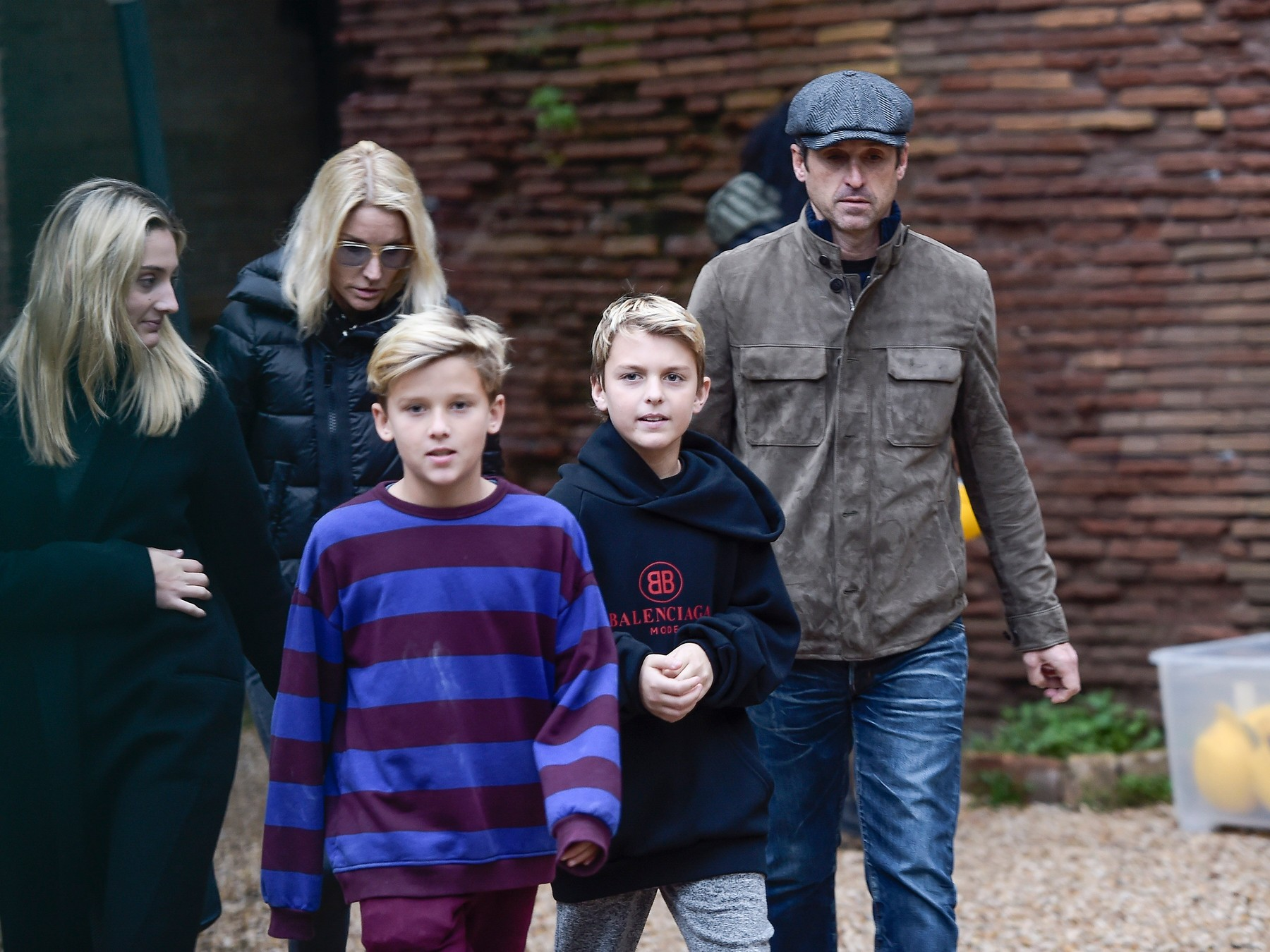 EXCLUSIVE: Patrick Dempsey, in Rome to star in a tv serie is spotted enjoying a visit to the ancient Nero's Domus Aurea, where they had to wear a yellow protective helmet with his wife Jillian Fink and their 3 sons Tallulah Fyfe and twins Darby Galen and Sullivan Patrick. 24 Nov 2018, Image: 398246077, License: Rights-managed, Restrictions: NO Italy, Model Release: no, Credit line: Agostino Fabio/MEGA / Mega Agency / Profimedia