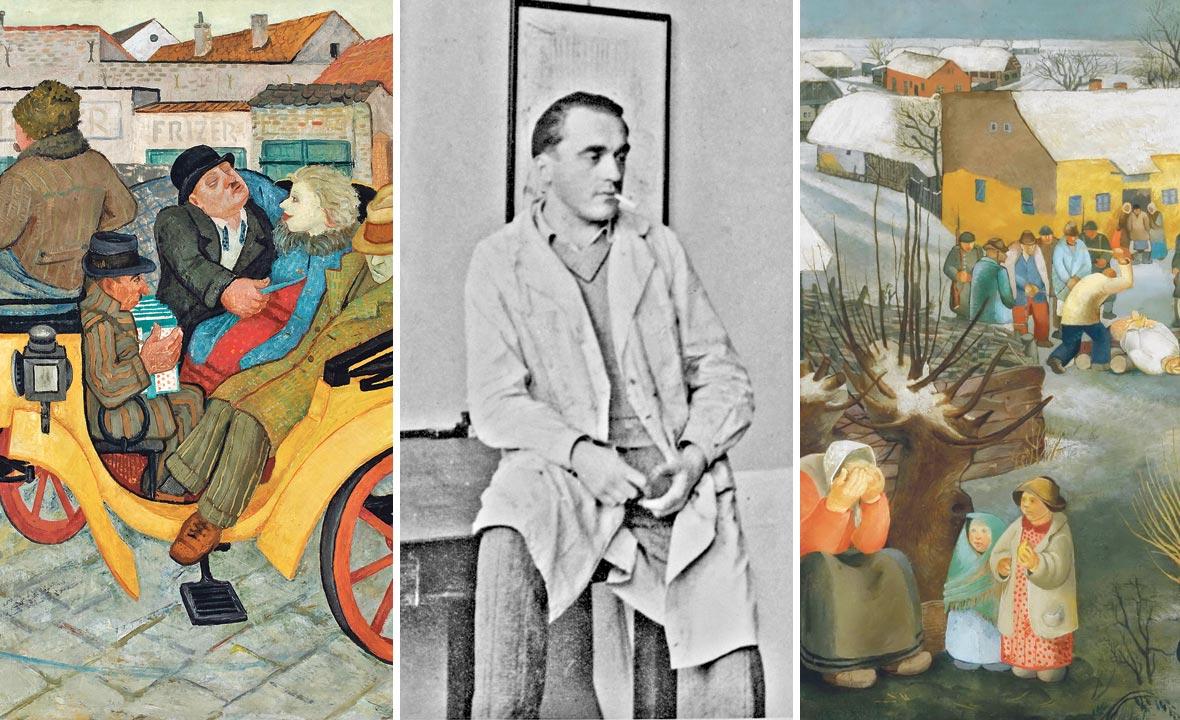 Pijana kočija M. Detonija 1935, (lijevo), Krsto Hegedušić (u sredini) i Rekvizicija K. Hegedušića 1929.
