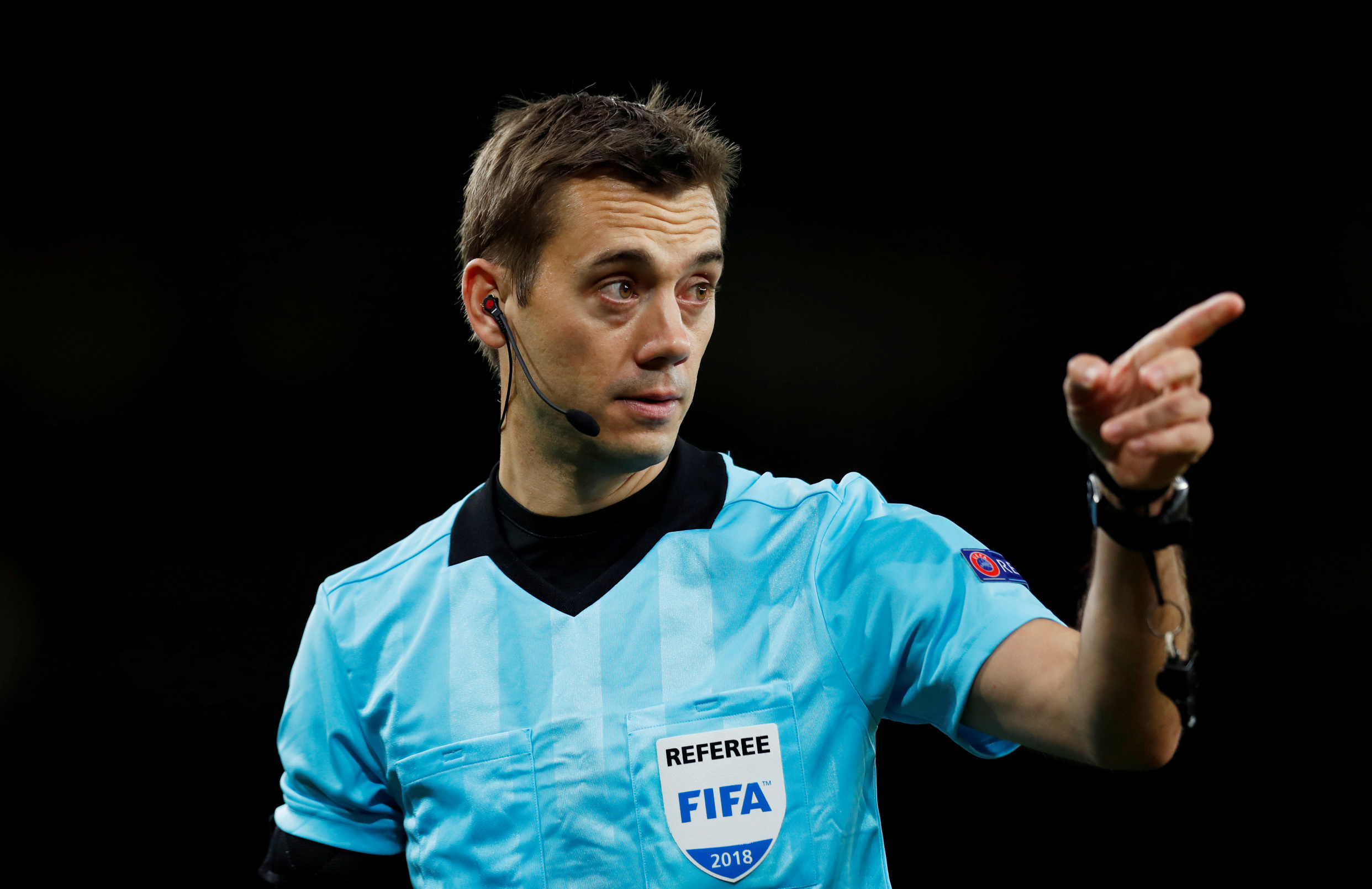 FILE PHOTO: Soccer Football - Europa League Semi Final First Leg - Arsenal vs Atletico Madrid - Emirates Stadium, London, Britain - April 26, 2018   Referee Clement Turpin gestures   Action Images via Reuters/Andrew Couldridge/File Photo