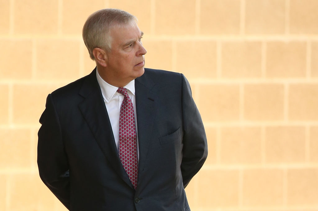 PERTH, AUSTRALIA - OCTOBER 02: Prince Andrew looks on after being greeted by Professor Romy Lawson, Provost of Murdoch University on arrival at Murdoch University on October 02, 2019 in Perth, Australia. The Duke of York is on a working visit to Perth hosting events as part of Pitch@Palace Australia 3.0, aimed to encourage and support entrepreneurship in Australia, and provide international support and development opportunities for early-stage businesses. (Photo by Paul Kane/Getty Images)