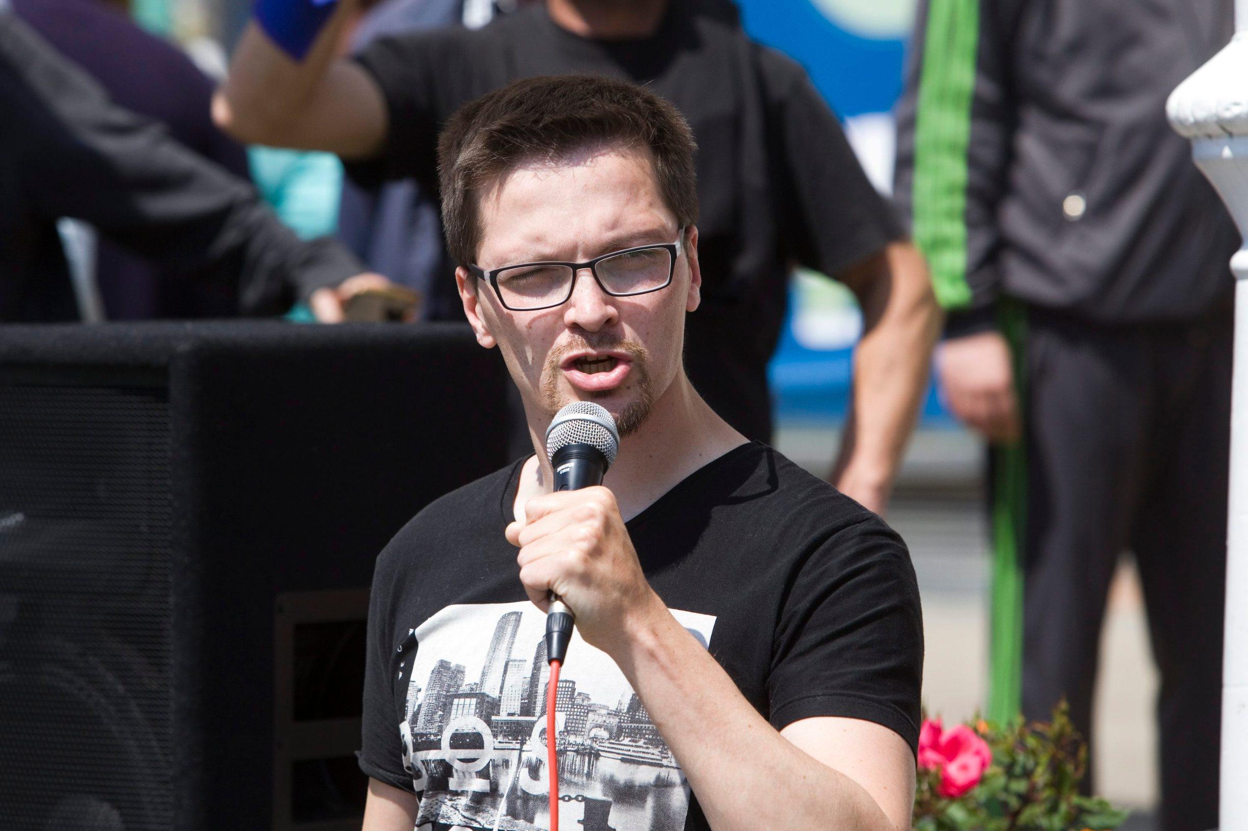 Ivan Pokupec na prosvjedu Malih ljudi 2017.