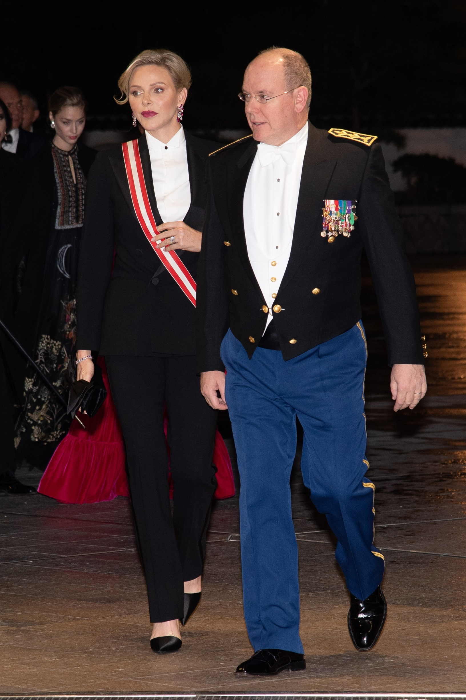 MONTE-CARLO, MONACO - NOVEMBER 19: Princess Charlene of Monaco and Prince Albert II of Monaco attend the gala at the Opera during Monaco National Day celebrations on November 19, 2019 in Monte-Carlo, Monaco. (Photo by PLS Pool/Getty Images)