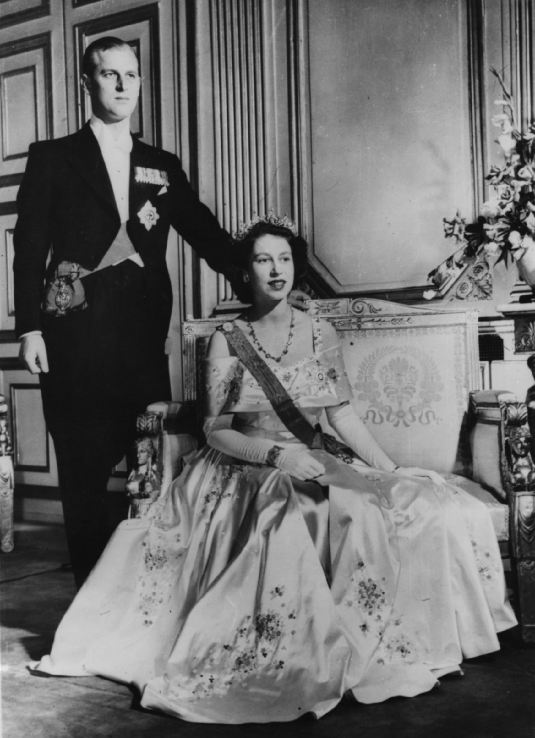 Portrait of Queen Elizabeth II and Prince Philip, the Duke of Edinburgh, circa 1952. (Photo by Keystone/Hulton Archive/Getty Images)