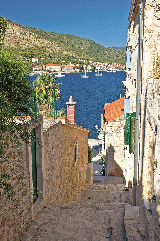Narrow streets of Vis island vertical view, Dalmatia, Croatia