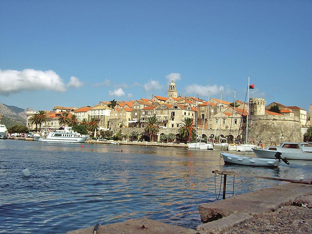 Yachts outside Korčula Town. Korčula is a Croatian island in the Adriatic Sea.