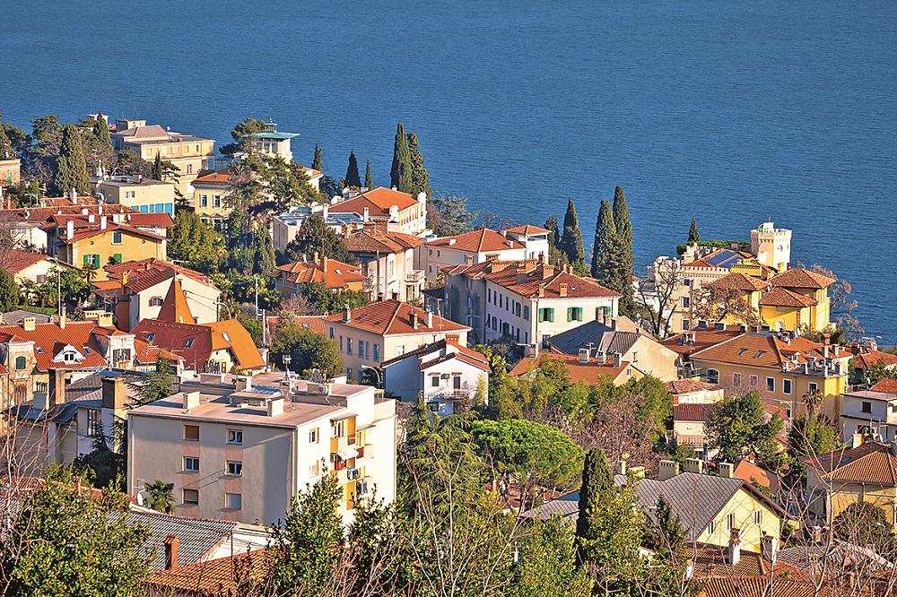 Town of Opatija waterfront aerial view, Kvarner bay of Croatia