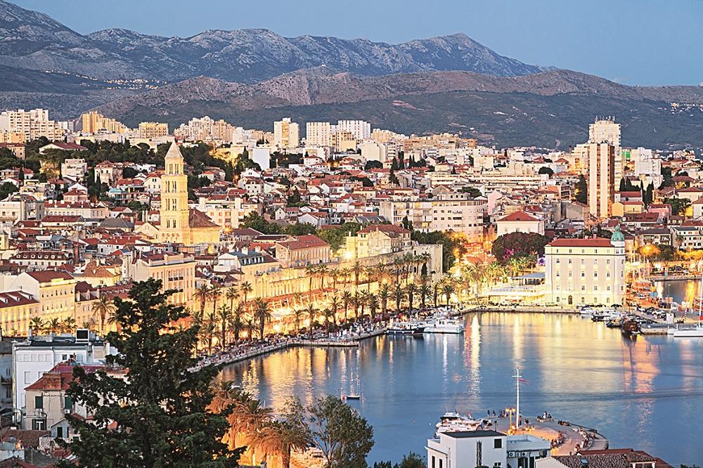 Split old town at night, Croatia