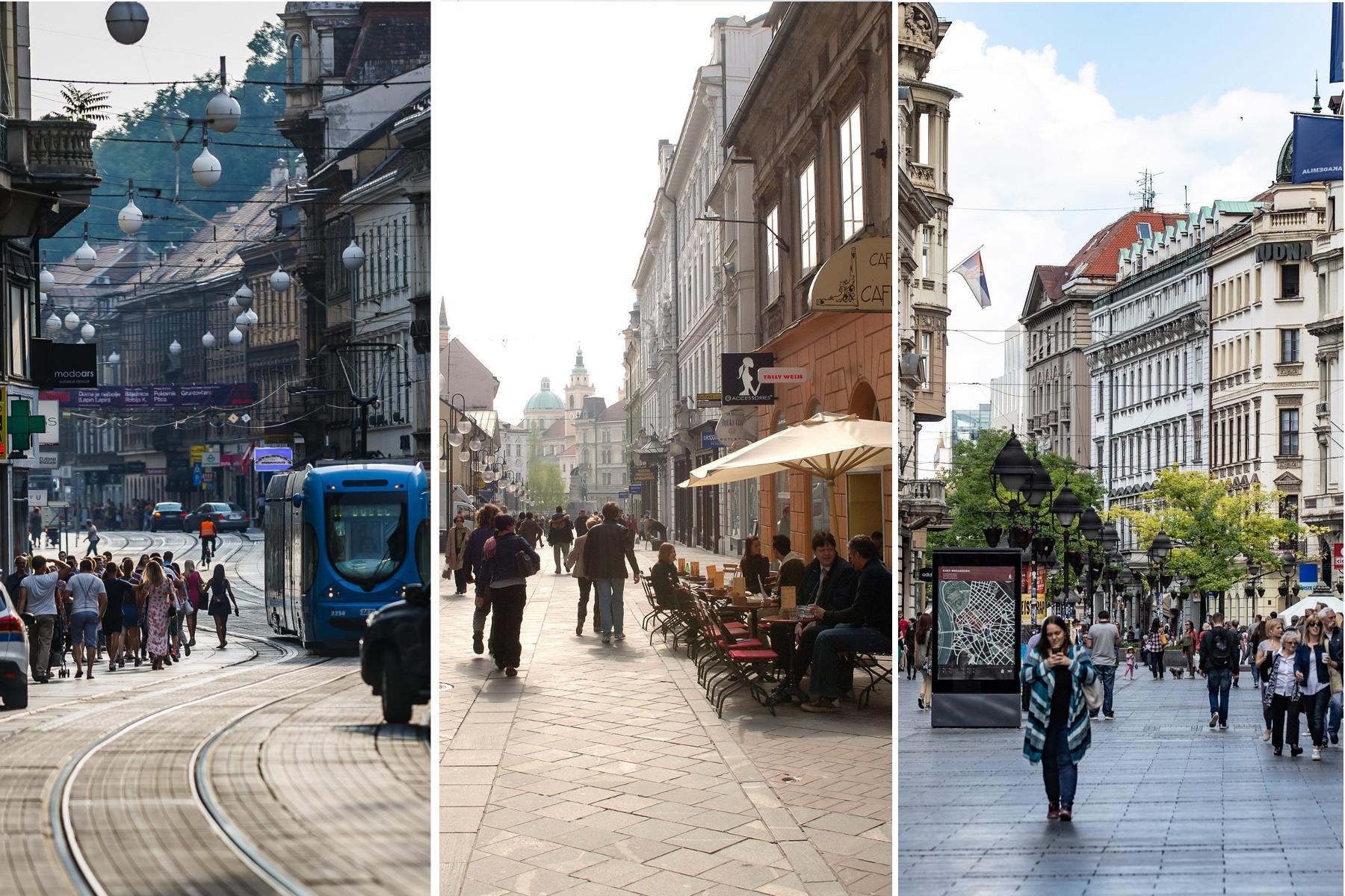 Ilica (Zagreb), Čopova ulica (Ljubljana), Knez Mihailova (Beograd)
