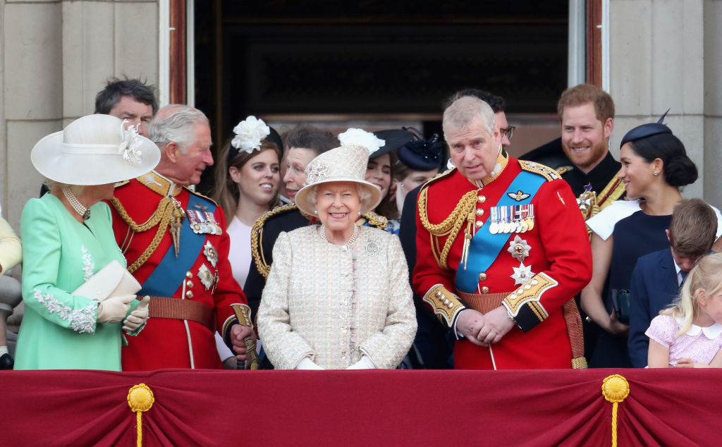 LONDON, ENGLAND - JUNE 08: (L-R) Camilla, Duchess of Cornwall Prince Charles, Prince of Wales, Queen Elizabeth II, Prince Andrew, Duke of York, Prince Harry, Duke of Sussex and Meghan, Duchess of Sussex during Trooping The Colour, the Queen's annual birthday parade, on June 8, 2019 in London, England.  (Photo by Chris Jackson/Getty Images)