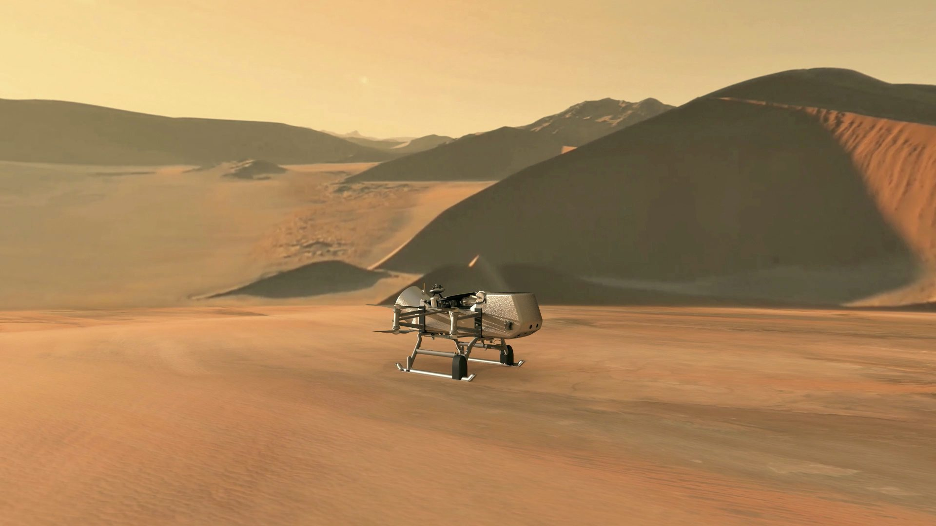 NASA's planned Dragonfly rotorcraft lander approaches a site to explore on Saturn's moon, Titan, in an Illustration released June 27, 2019. NASA/JHU-APL/Handout via REUTERS.  ATTENTION EDITORS - THIS IMAGE HAS BEEN SUPPLIED BY A THIRD PARTY.