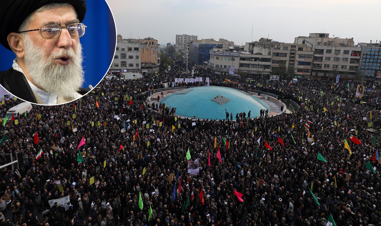 Ajatolah Ali Khamenei i okupljanje ljudi u Iranu