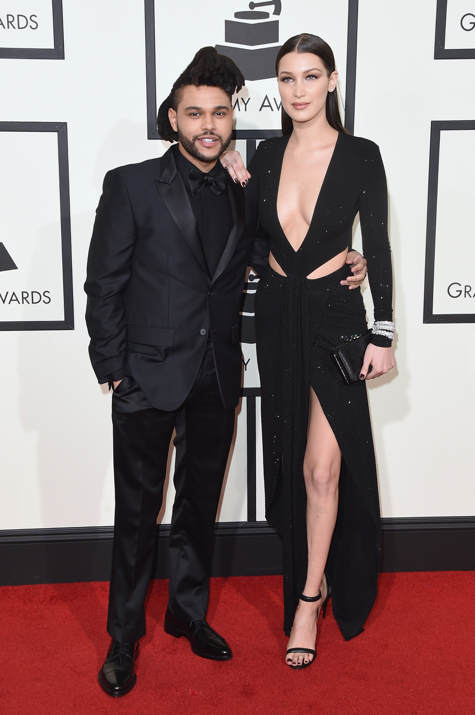 LOS ANGELES, CA - FEBRUARY 15:  Singer The Weeknd (L) and model Bella Hadid attend The 58th GRAMMY Awards at Staples Center on February 15, 2016 in Los Angeles, California.  (Photo by Jason Merritt/Getty Images)