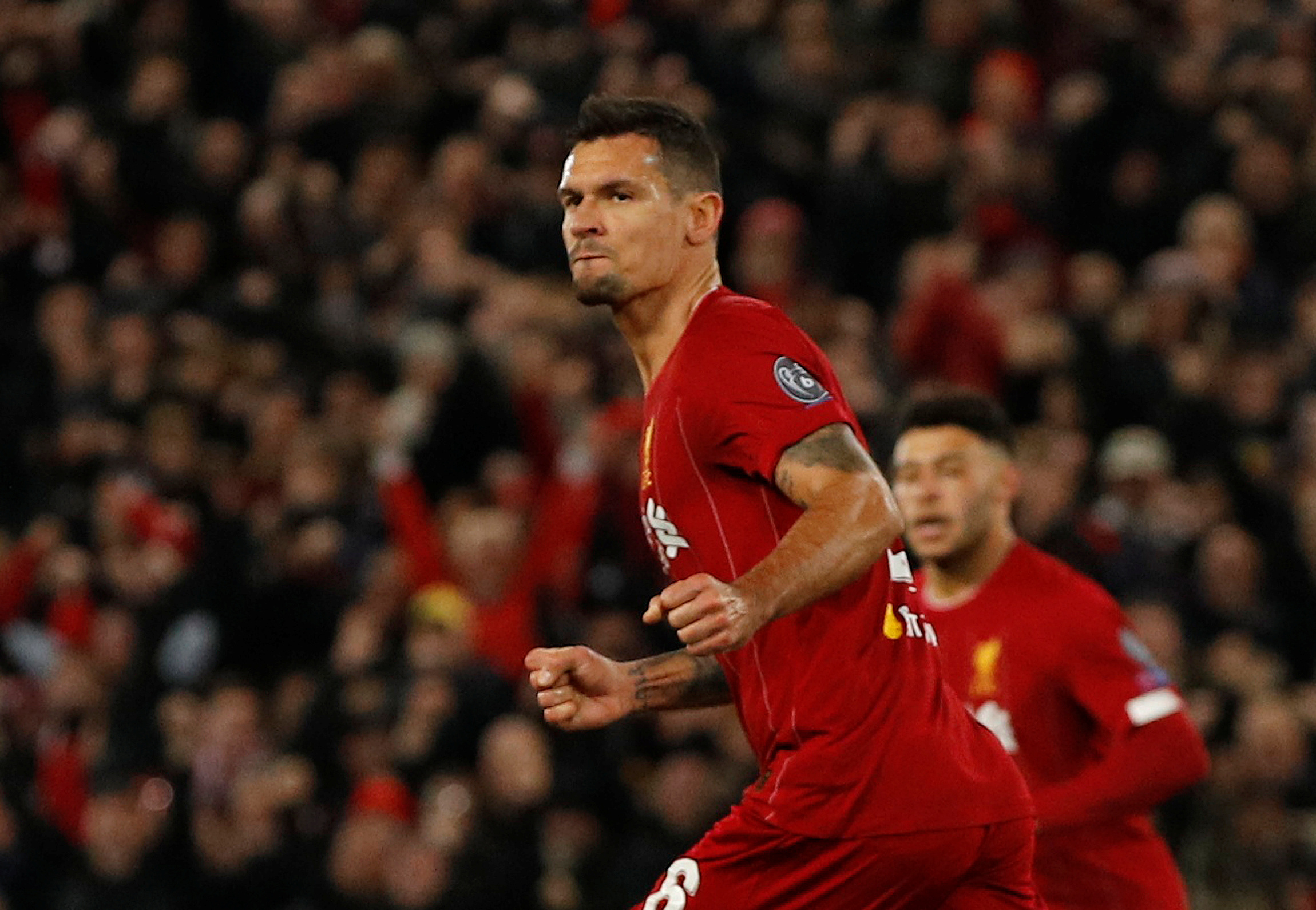 Soccer Football - Champions League - Group E - Liverpool v Napoli - Anfield, Liverpool, Britain - November 27, 2019  Liverpool's Dejan Lovren celebrates scoring their first goal   REUTERS/Phil Noble - RC2XJD96TS4P