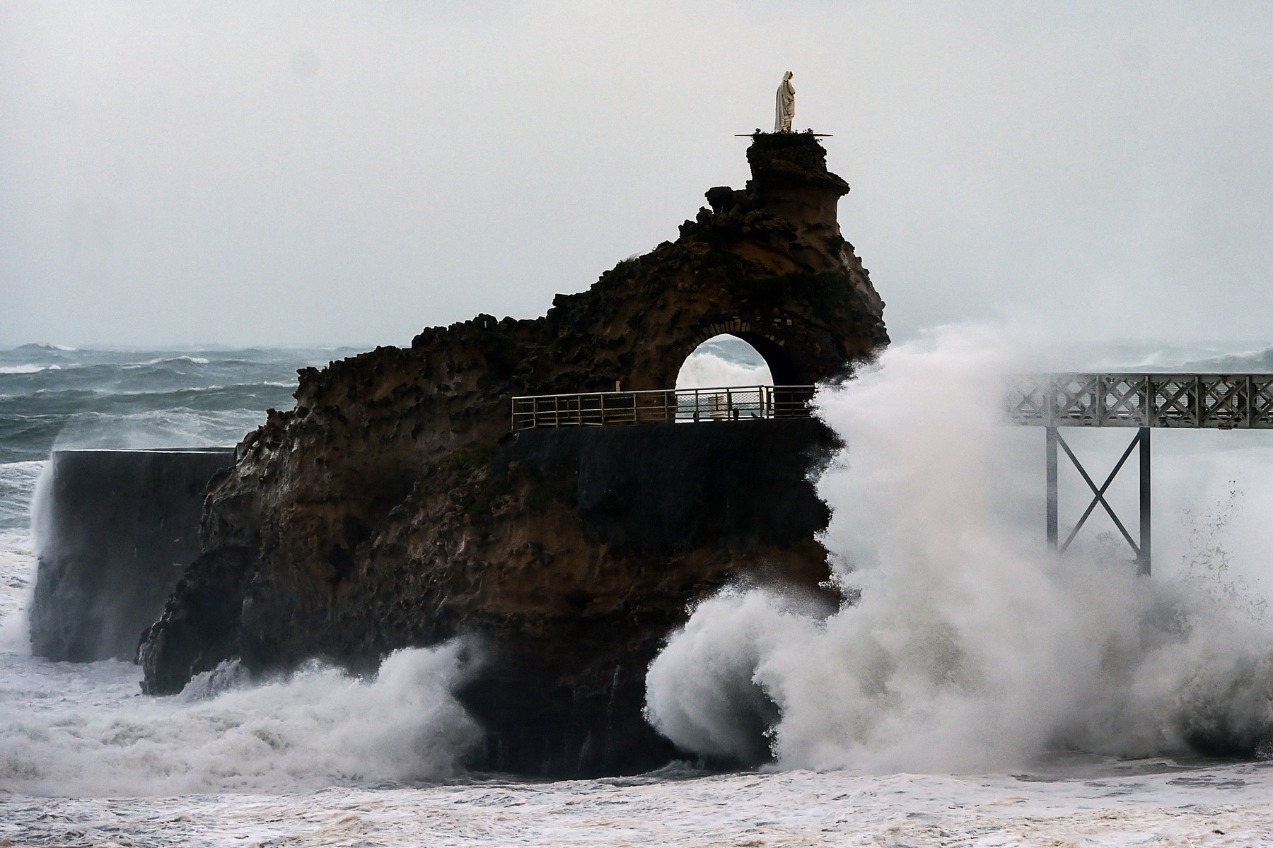 Waves break on the Rocher de La Vierge off the coast in Biarritz, south western France, on November 3, 2019 during the Amelie storm.  Some 100,000 households were deprived of electricity on the morning of November 3, 2019 in south western France, where the Atlantic coast was swept by storm Amelie, causing damage but no casualties, according to an initial assessment by the emergency services and the prefectures., Image: 480832402, License: Rights-managed, Restrictions: , Model Release: no, Credit line: GAIZKA IROZ / AFP / Profimedia