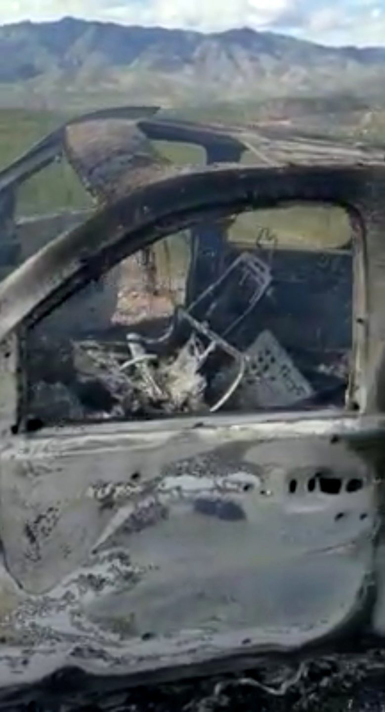 The burnt wreckage of a vehicle transporting a Mormon family living near the border with the U.S. is seen, after the family was caught in a crossfire between unknown gunmen from rival cartels, in Bavispe, Sonora, Mexico November 4, 2019, in this picture obtained from social media. Mandatory  credit KENNETH MILLER/LAFE LANGFORD JR/via REUTERS. ATTENTION EDITORS - THIS IMAGE HAS BEEN SUPPLIED BY A THIRD PARTY. MANDATORY CREDIT. NO RESALES. NO ARCHIVES.