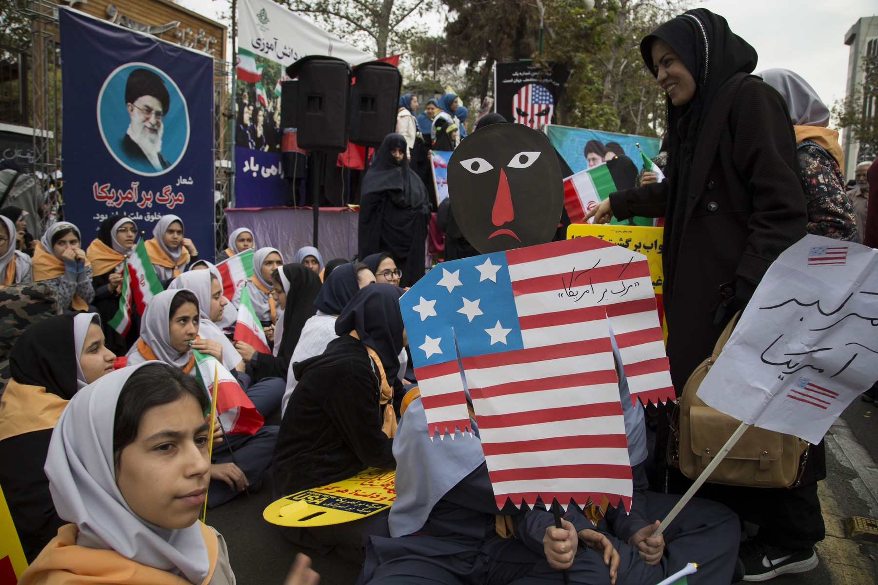 November 4, 2019, Tehran, Iran: Iranians take part in an anti-US demonstration marking the 40th anniversary of US Embassy takeover, in front of the former US embassy in Tehran, Iran. thousands of protesters chanting 'Death to America' gathered at the former US embassy in Tehran to mark the 40th anniversary of the start of the Iran hostage crisis. Iranian students occupied the embassy on 04 November 1979 after the USA granted permission to the late Iranian Shah to be hospitalized in the United States. Over 50 US diplomats and guards were held hostage by students for 444 days., Image: 480977251, License: Rights-managed, Restrictions: , Model Release: no, Credit line: Rouzbeh Fouladi / Zuma Press / Profimedia