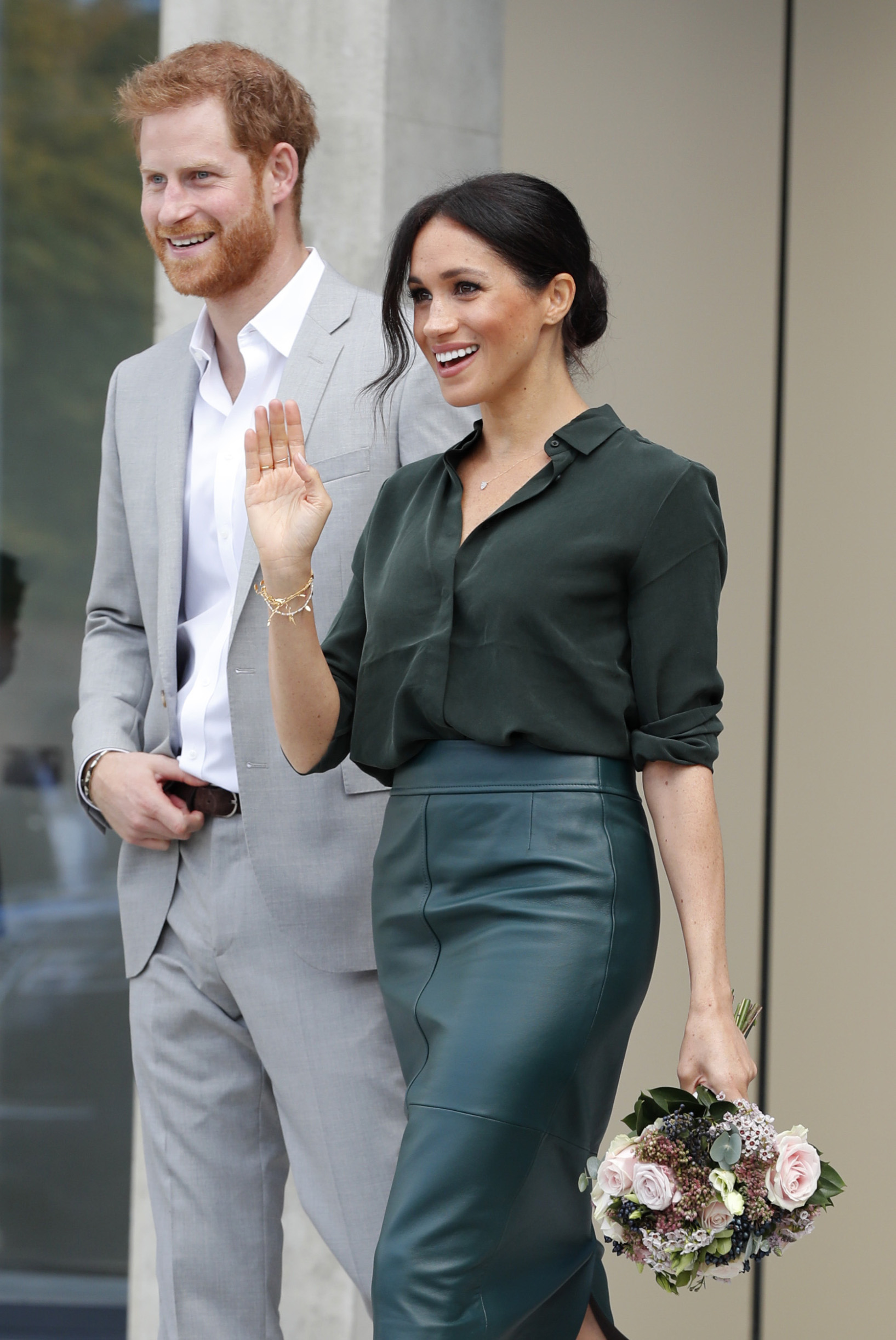 CHICHESTER, ENGLAND - OCTOBER 3: Meghan, Duchess of Sussex and Prince Harry, Duke of Sussex at The University of Chichester Tech Park during an official visit to Sussex on October 3, 2018 in Chichester, England. The Duke and Duchess married on May 19th 2018 in Windsor and were conferred The Duke & Duchess of Sussex by The Queen.  (Photo by Heathcliff O'Malley - WPA Pool/Getty Images)