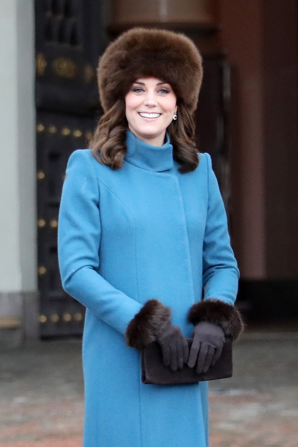 OSLO, NORWAY - FEBRUARY 01:  Catherine, Duchess of Cambridge exits the Royal Palace on her way to visit the Princess Ingrid Alexandra Sculpture Park on day 3 of the Duke and Duchess of Cambridge visit to Sweden and Norway on February 1, 2018 in Oslo, Norway. The Princess Ingrid Alexandra Sculpture Park opened last year in the name of Princess Ingrid Alexandra to mark the 25th anniversary of The King's reign. During this visit, The Duke and Duchess will have the opportunity to meet members of the public gathered in the park.  (Photo by Chris Jackson/Chris Jackson/Getty Images)
