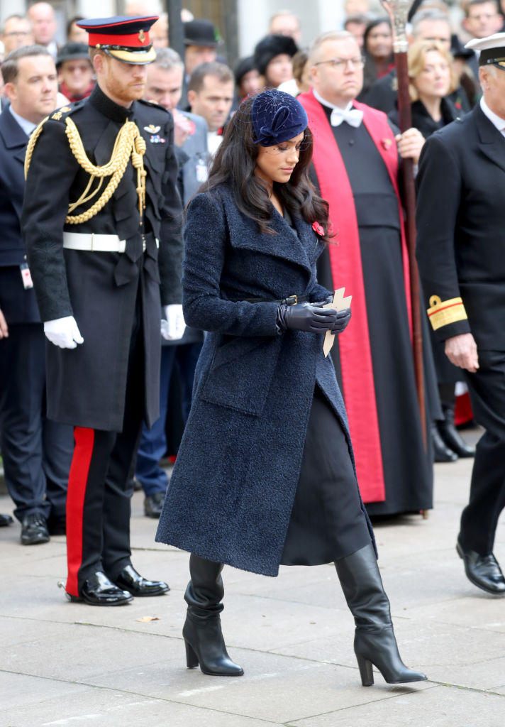 LONDON, ENGLAND - NOVEMBER 07:  Meghan, Duchess of Sussex attends the 91st Field of Remembrance at Westminster Abbey on November 07, 2019 in London, England. (Photo by Chris Jackson/Getty Images)