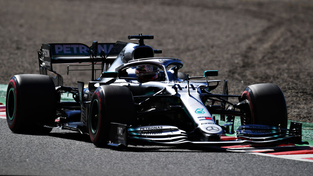 SUZUKA, JAPAN - OCTOBER 13: Lewis Hamilton of Great Britain driving the (44) Mercedes AMG Petronas F1 Team Mercedes W10 on track during qualifying for the F1 Grand Prix of Japan at Suzuka Circuit on October 13, 2019 in Suzuka, Japan. (Photo by Clive Mason/Getty Images)