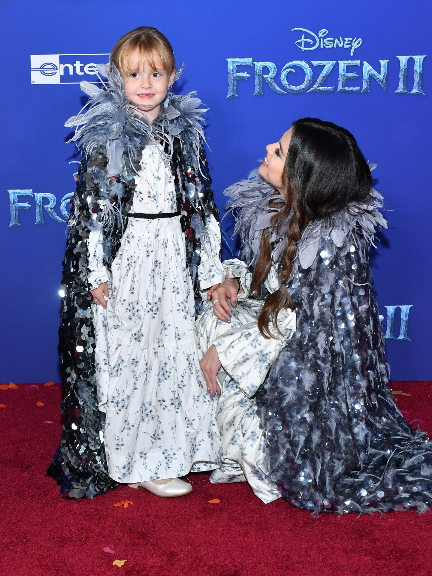 HOLLYWOOD, CALIFORNIA - NOVEMBER 07: Gracie Teefey and Selena Gomez attend the premiere of Disney's