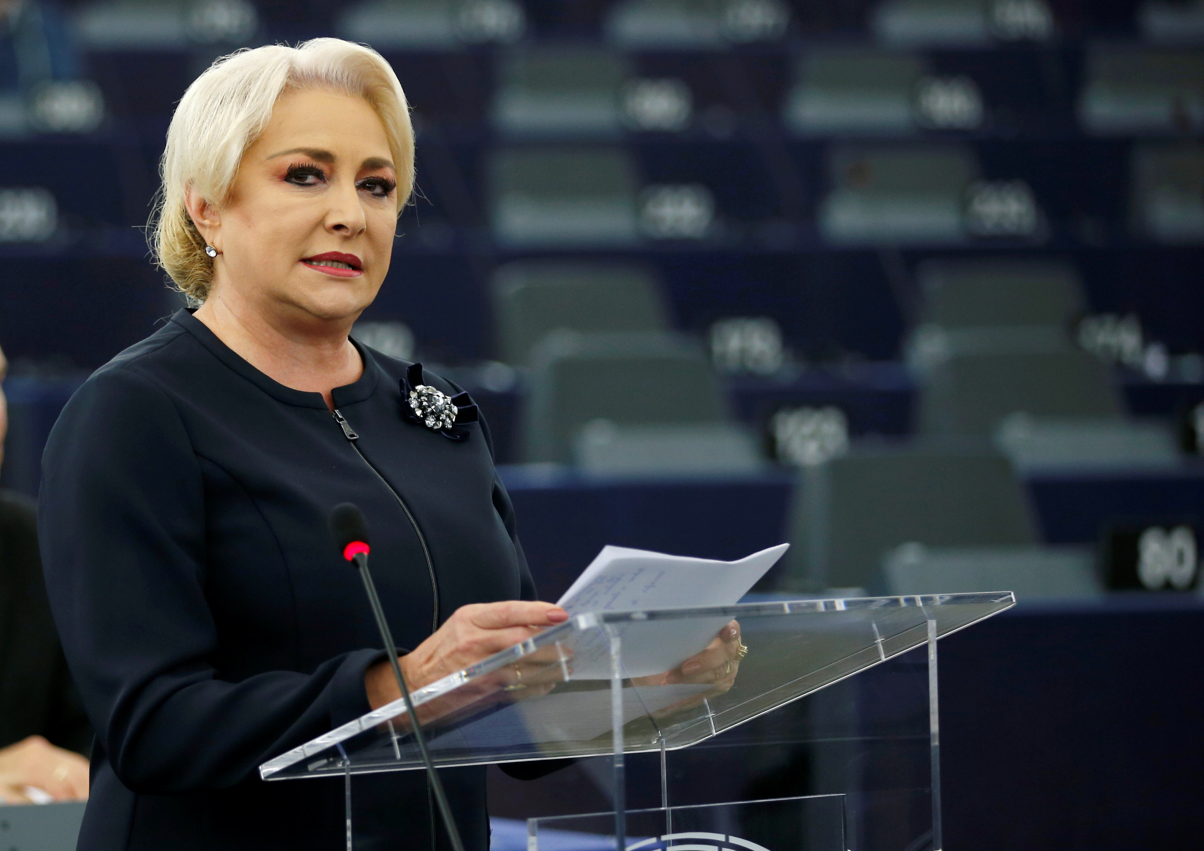 Romanian Prime Minister Viorica Dancila delivers a speech during a debate on the rule of law in Romania at the European Parliament in Strasbourg, France, October 3, 2018.  REUTERS/Vincent Kessler - RC15AA194EC0