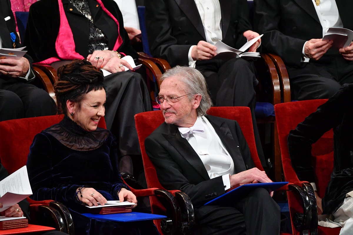 Polish author Olga Tokarczuk and Austrian author Peter Handke, 2018 and 2019 literature laureates respectively, talk during the Nobel Prize award ceremony at the Stockholm Concert Hall in Stockholm, Sweden December 10, 2019.   TT News Agency/Henrik Montgomery via REUTERS      ATTENTION EDITORS - THIS IMAGE WAS PROVIDED BY A THIRD PARTY. SWEDEN OUT. NO COMMERCIAL OR EDITORIAL SALES IN SWEDEN.