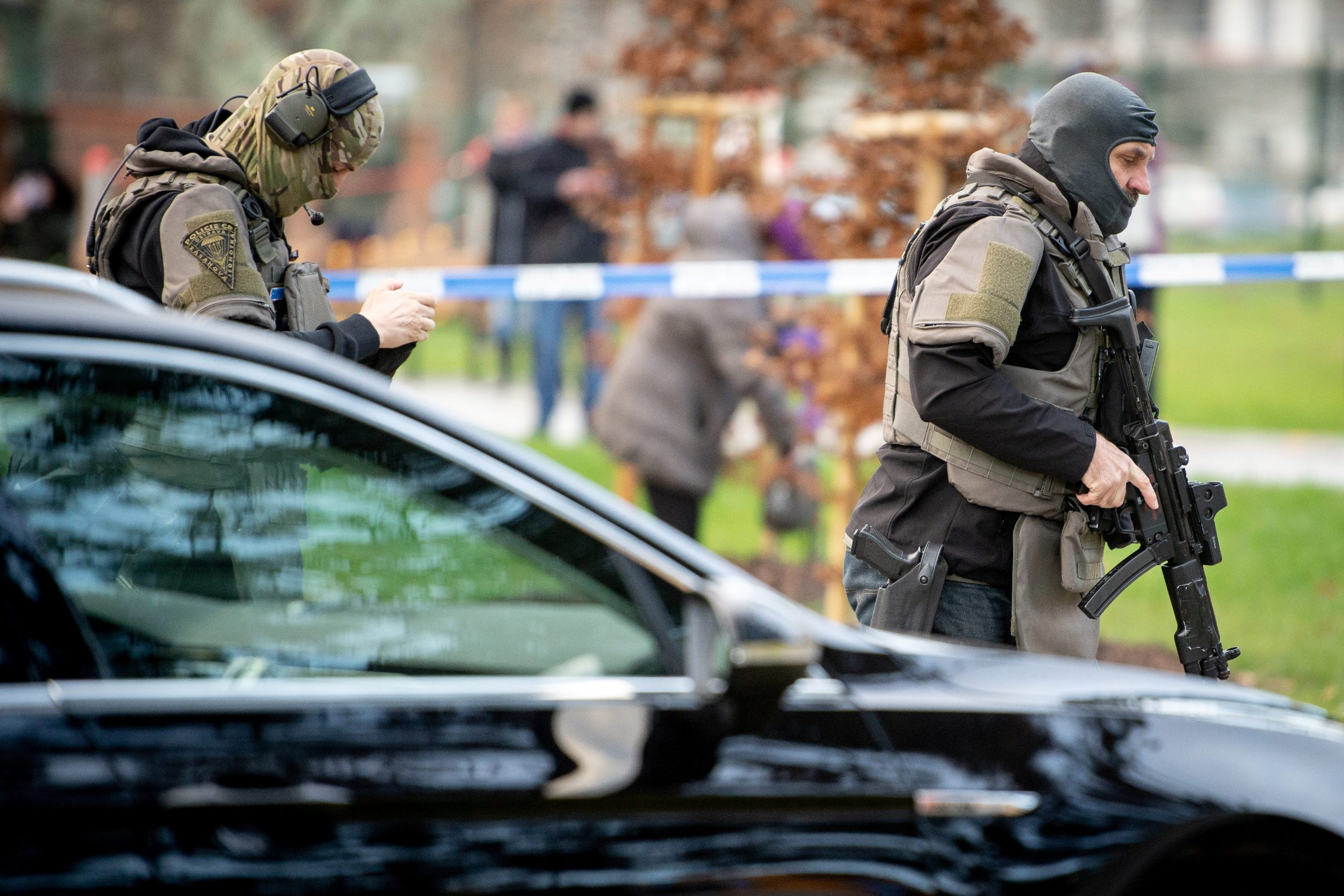 Police officers are seen near the site of a shooting in front of a hospital in Ostrava, Czech Republic, December 10, 2019.   REUTERS/Lukas Kabon
