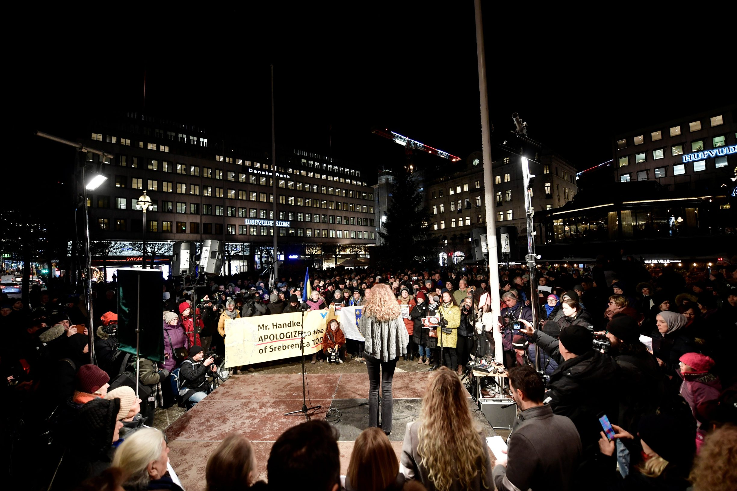 People gather for a demonstration against the awarding of the 2019 Nobel literature prize to Peter Handke in Stockholm, Sweden December 10, 2019. TT News Agency/Stina Stjernkvist via REUTERS    THIS IMAGE HAS BEEN SUPPLIED BY A THIRD PARTY. SWEDEN OUT. NO COMMERCIAL OR EDITORIAL SALES IN SWEDEN