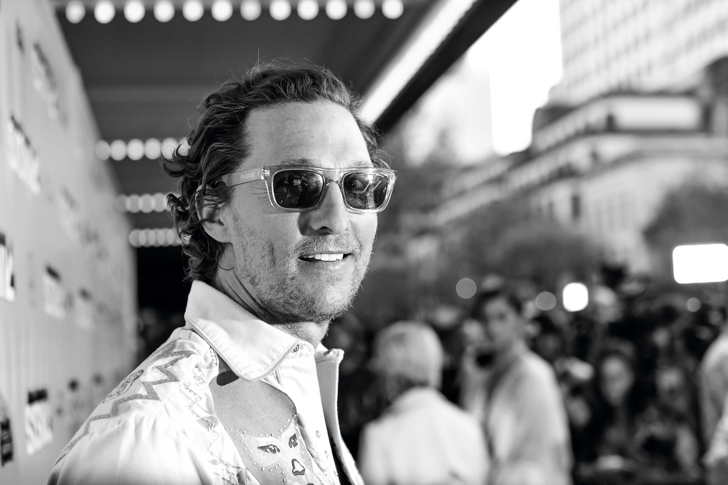 AUSTIN, TEXAS - MARCH 09: (EDITORS NOTE: Image has been converted to black and white) Matthew McConaughey attends the