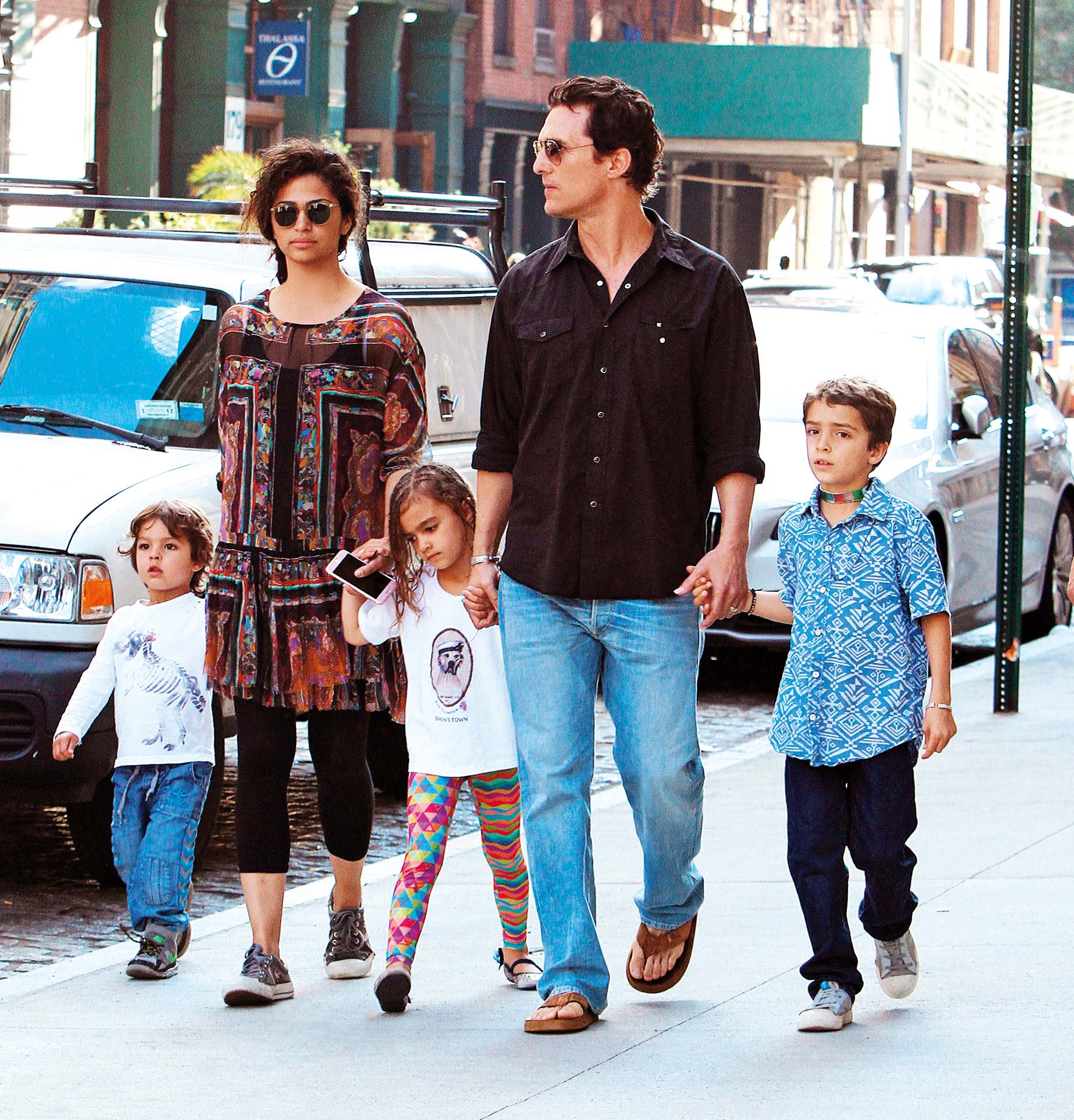 Matthew McConaughey and wife Camila Alves, along with their three children Livingston, Levi, and Vida, go on a family stroll in New York City. Pictured: Matthew McConaughey, Levi Alves McConaughey, Vida Alves McConaughey, Livingston Alves McConaughey, Image: 292786043, License: Rights-managed, Restrictions: -ALLCOUNTRY, Model Release: no, Credit line: Said Elatab / Splash / Profimedia