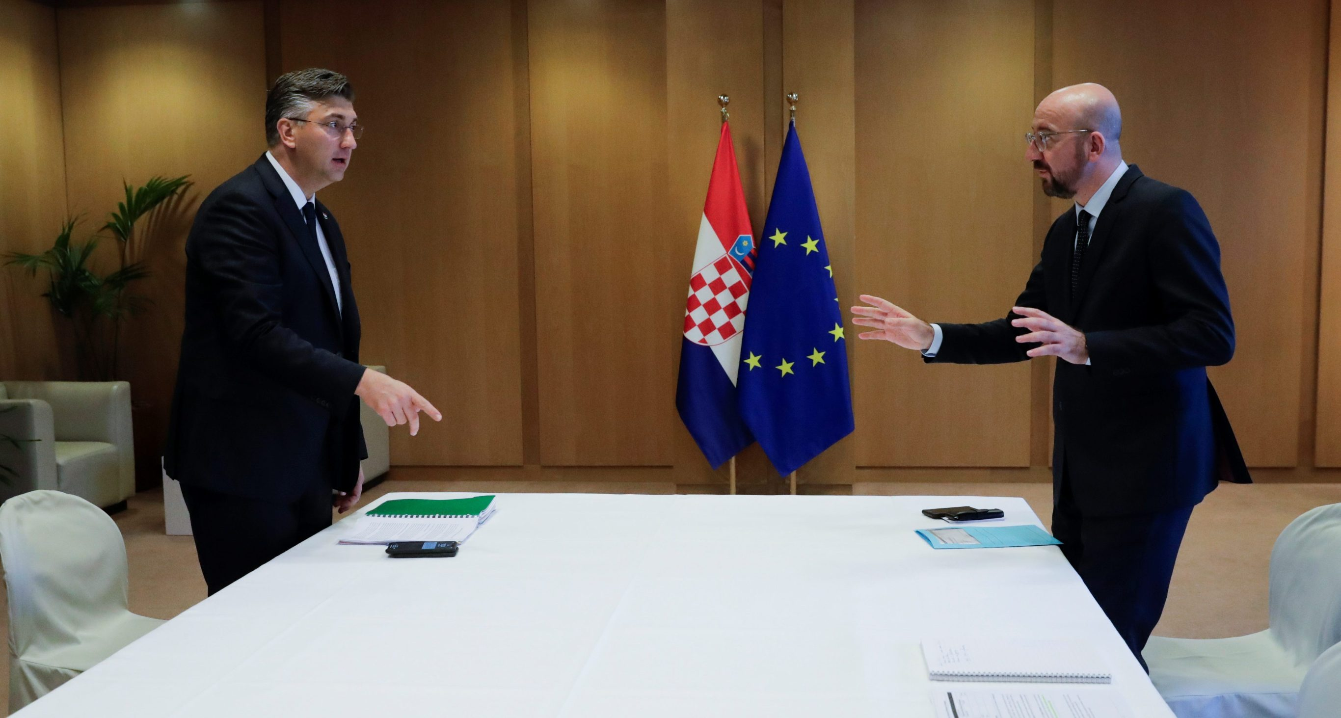 Croatian Prime Minister Andrej Plenkovic is welcomed by President of the European Council Charles Michel during a bilateral meeting ahead of a European Union leaders summit in Brussels, Belgium December 12, 2019.  Olivier Hoslet/Pool via REUTERS