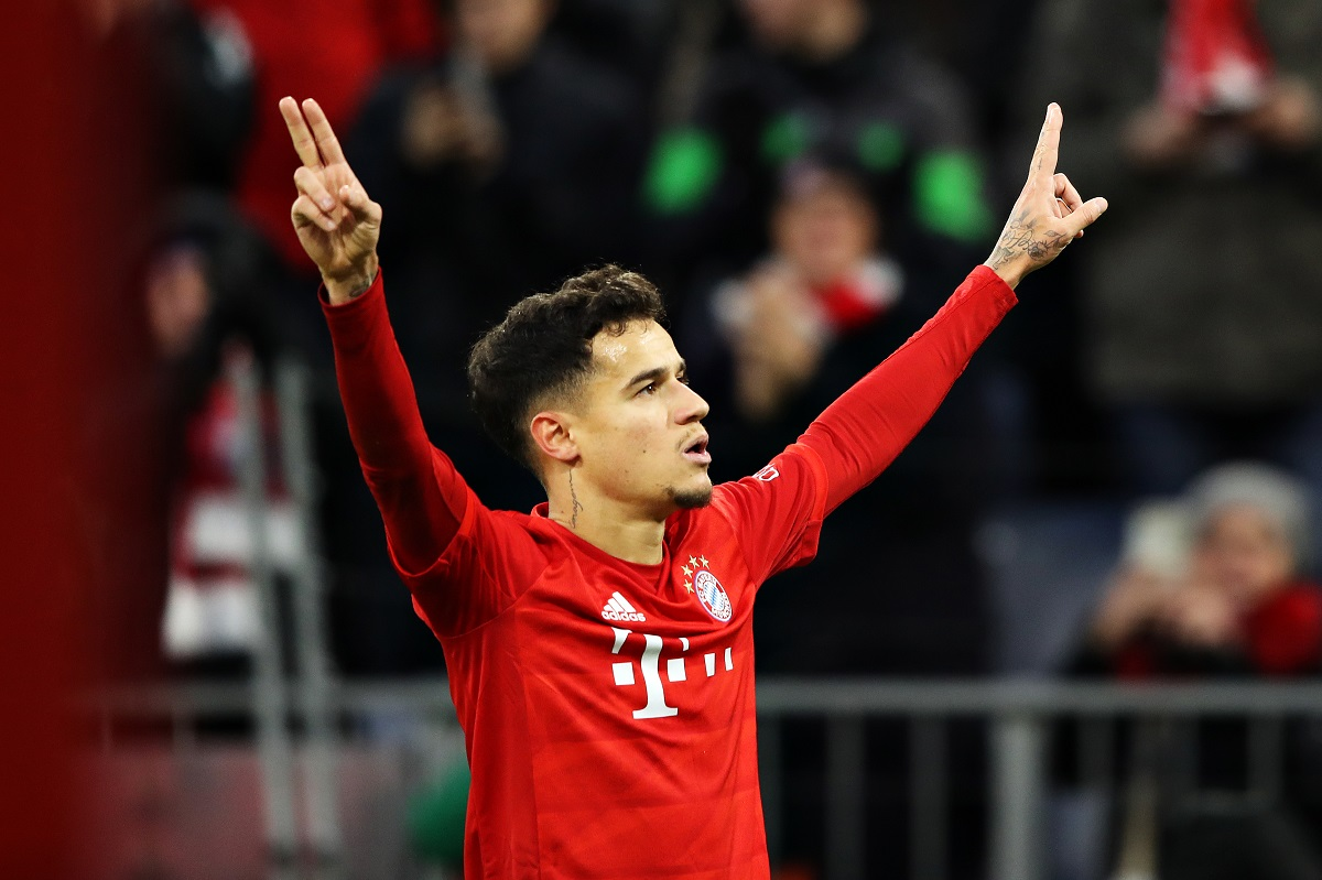 MUNICH, GERMANY - DECEMBER 14: Philippe Coutinho of FC Bayern Muenchen celebrates scoring his sides first goal during the Bundesliga match between FC Bayern Muenchen and SV Werder Bremen at Allianz Arena on December 14, 2019 in Munich, Germany. (Photo by Alexander Hassenstein/Bongarts/Getty Images)