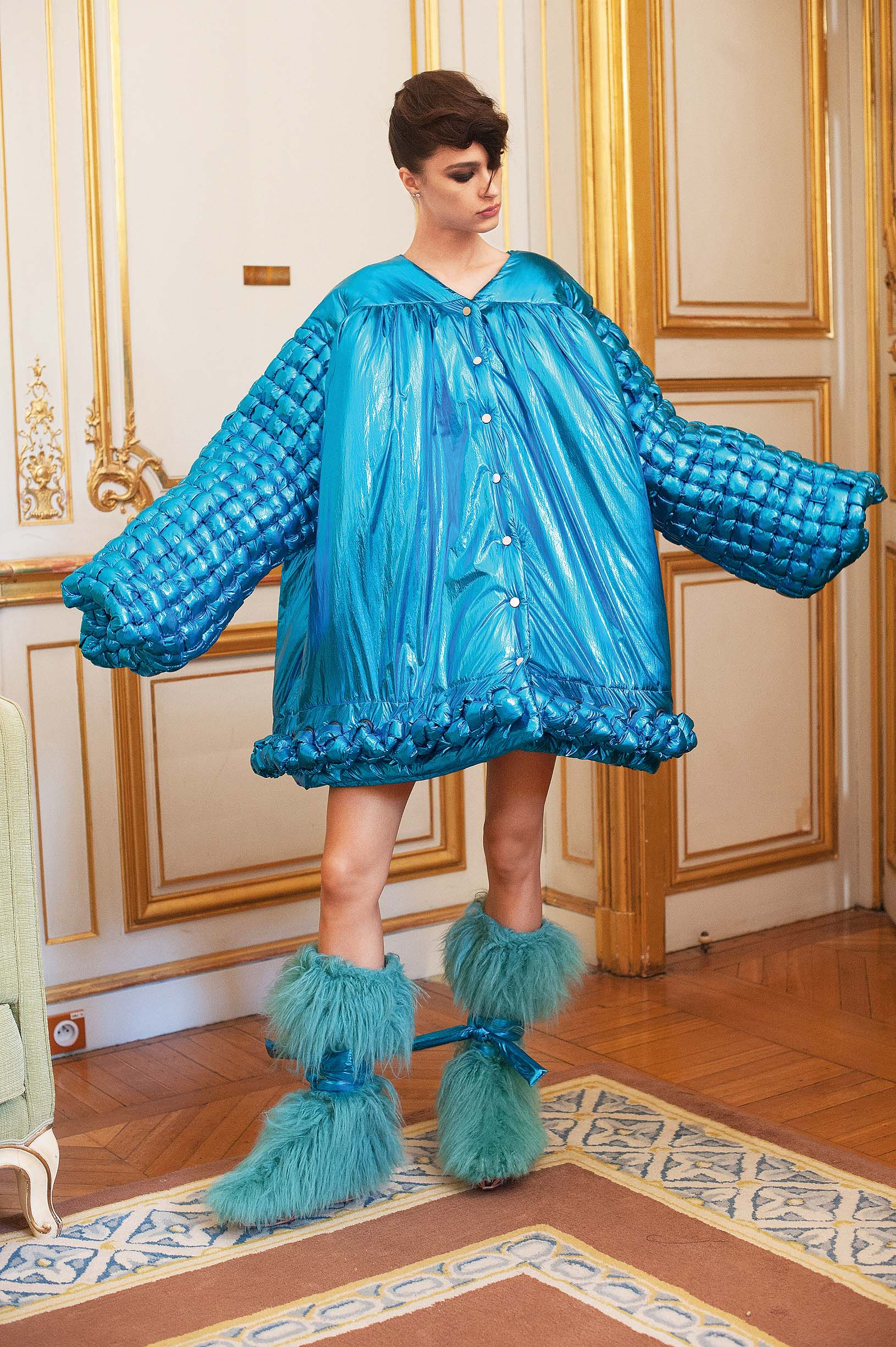 PARIS, FRANCE - JULY 02: A model poses backstage prior the Antonio Ortega Haute Couture Fall/Winter 2019 2020 show as part of Paris Fashion Week on July 02, 2019 in Paris, France. (Photo by Kay-Paris Fernandes/Getty Images)
