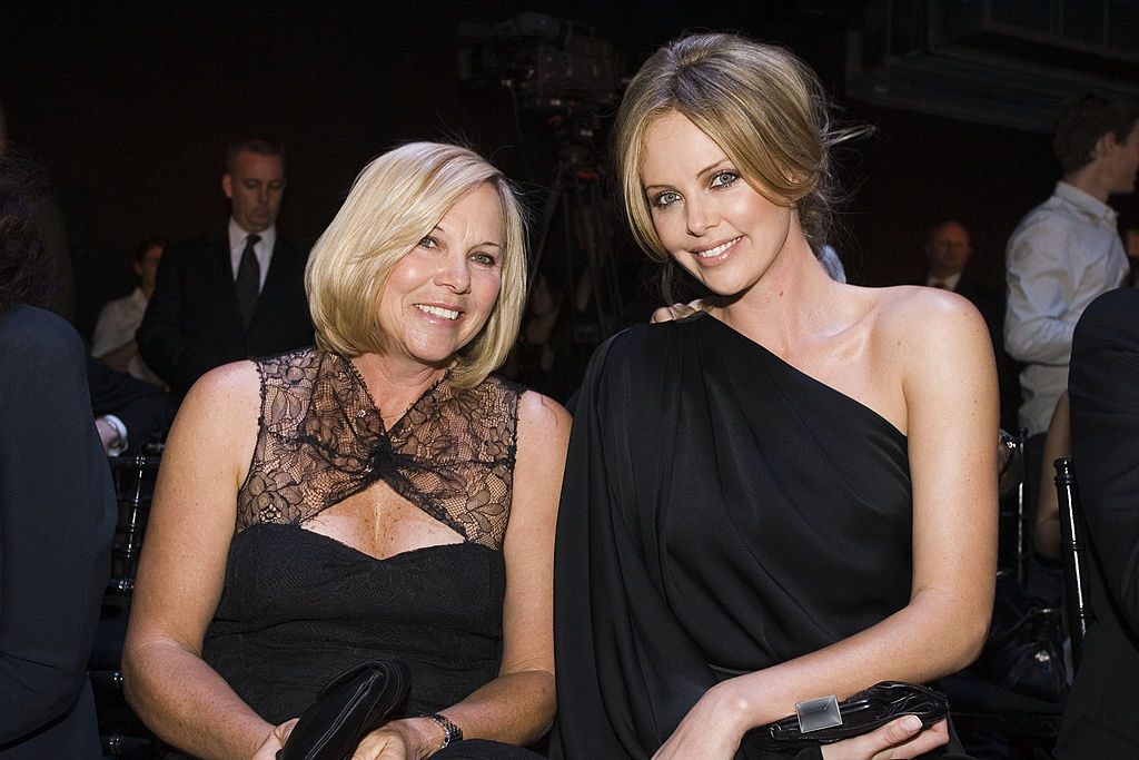 NEW YORK - MAY 14: Actress Charlize Theron (R) and her mother Gerda Theron attend the Dior 2008 Cruise collection fashion show on May 14, 2007 in New York City. (Photo by Mat Szwajkos/Getty Images.)