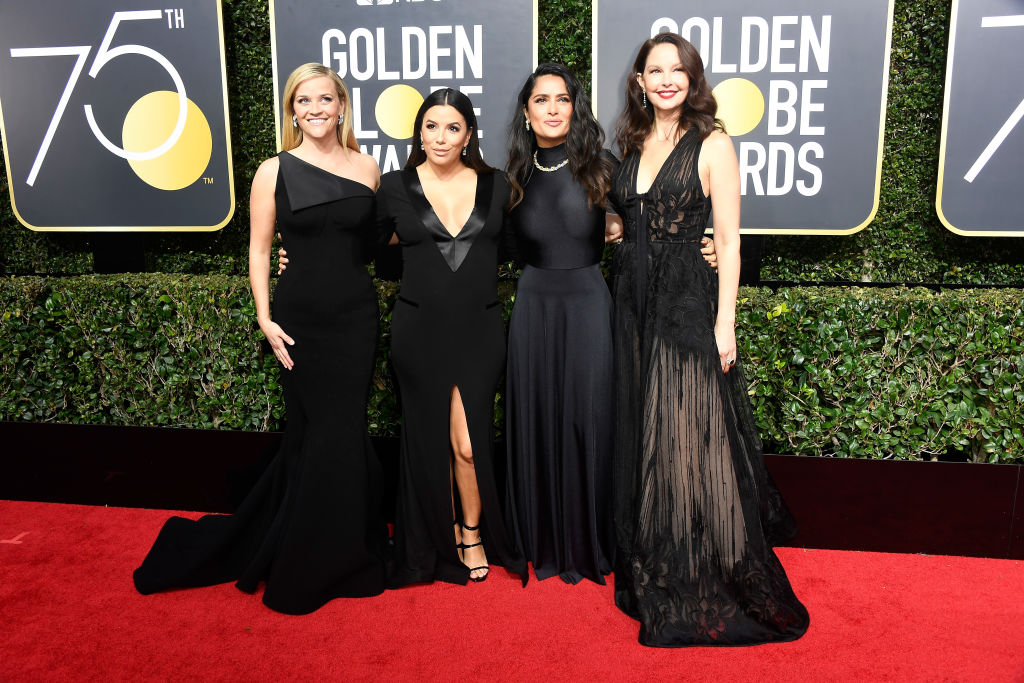 BEVERLY HILLS, CA - JANUARY 07:  (L-R) Actors Reese Witherspoon, Eva Longoria, Salma Hayek, and Ashley Judd attend The 75th Annual Golden Globe Awards at The Beverly Hilton Hotel on January 7, 2018 in Beverly Hills, California.  (Photo by Frazer Harrison/Getty Images)