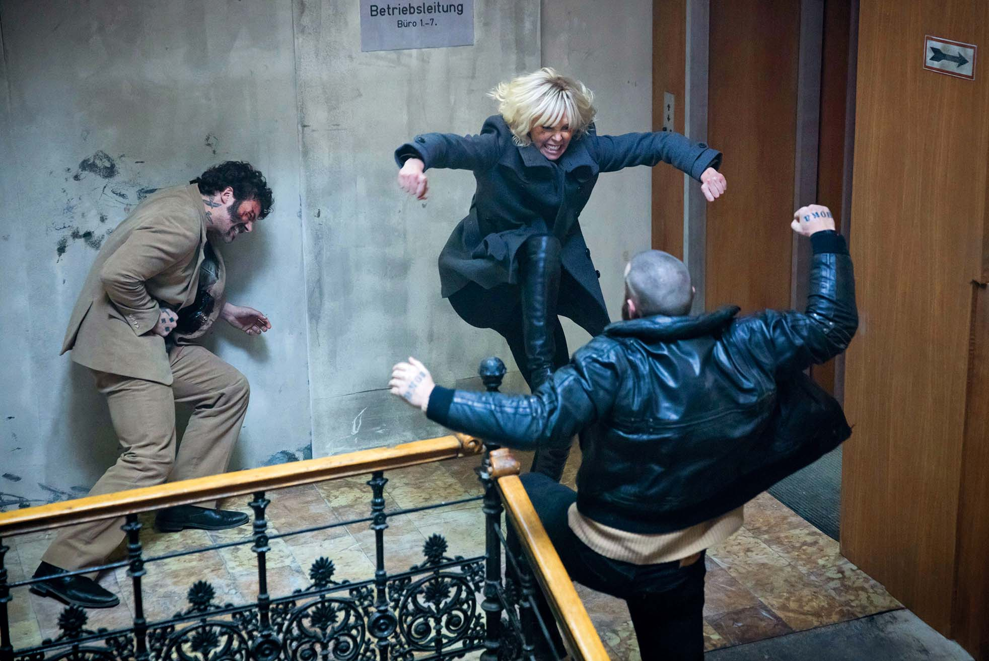 Atomic Blonde (2017)  Charlize Theron, Greg Rementer & Daniel Hargrave   *Filmstill - Editorial Use Only*, Image: 361975342, License: Rights-managed, Restrictions: Filmstill // HANDOUT / EDITORIAL USE ONLY! Please note: Fees charged by the agency are for the agencyÕs services only, and do not, nor are they intended to, convey to the user any ownership of Copyright or License in the material. The agency does not claim any ownership including but not limited to Copyright or License in the attached material. By publishing this material you expressly agree to indemnify and to hold the agency and its directors, shareholders and employees harmless from any loss, claims, damages, demands, expenses (including legal fees), or any causes of action or allegation against the agency arising out of or connected in any way with publication of the material. Images should only be used in connection with the event/movie (etc), e.g.: Real Name as Character Name in Film Title (year). Filmstill // HANDOUT / EDITORIAL USE ONLY! Please note: Fees charged by the agency are for the agency's services only, and do not, nor are they intended to, convey to the user any ownership of Copyright or License in the material. The agency does not claim any ownership including but not limited to Copyright or License in the attached material. By publishing this material you expressly agree to indemnify and to hold the agency and its directors, shareholders and employees harmless from any loss, claims, damages, demands, expenses (including legal fees), or any causes of action or allegation against the agency arising out of or connected in any way with publication of the material. Images should only be used in connection with the event/movie (etc), e.g.: Real Name as Character Name in Film Title (year)., Model Release: no, Credit line: Image  Capital Pictures / Film Stills / Profimedia