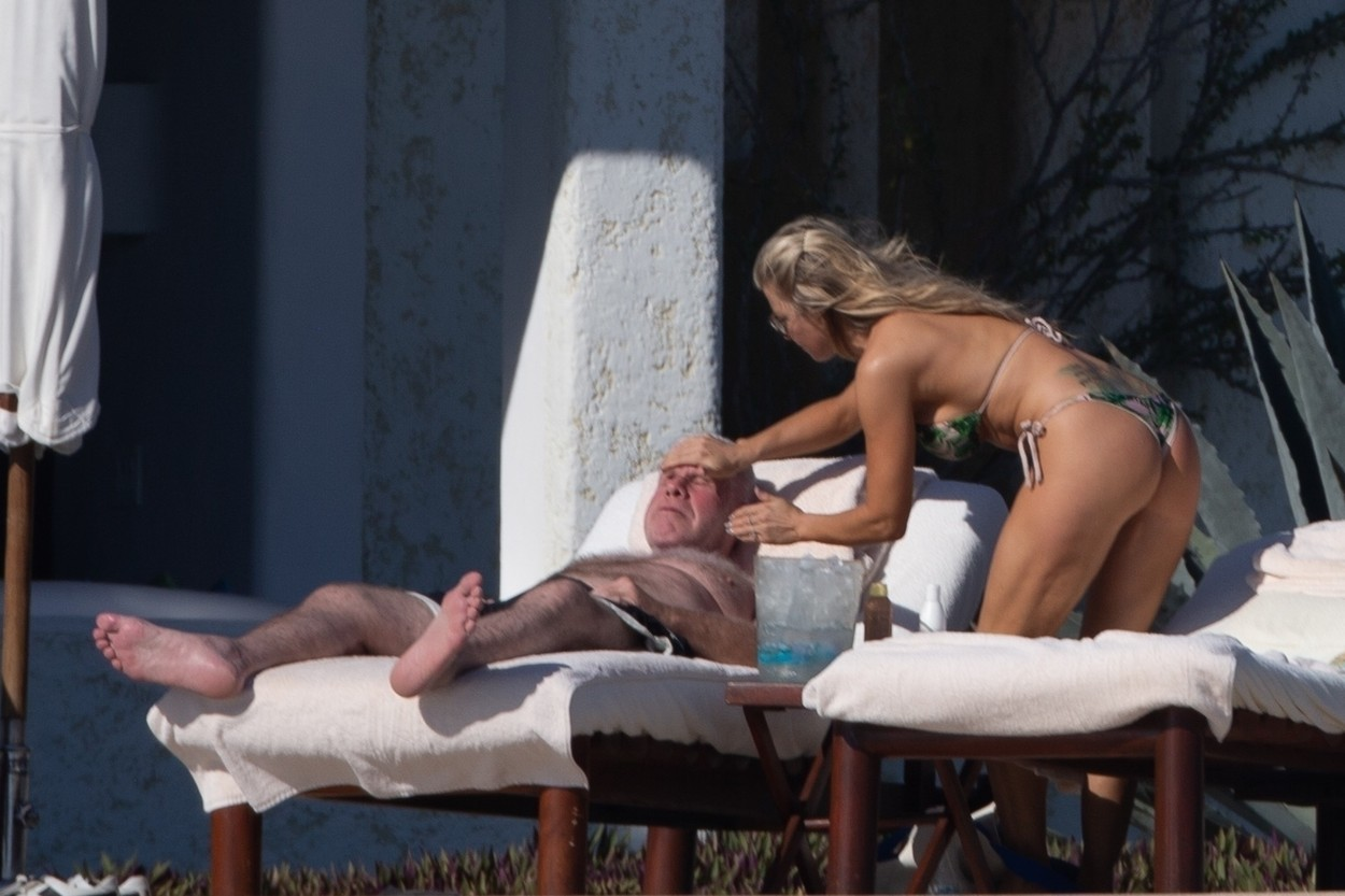 Cabo San Lucas, MEXICO  - *PREMIUM-EXCLUSIVE*  -  *Web Embargo until 4pm PST on December 17, 2019* Actor Ron Perlman is spotted kicking back in Mexico with new girlfriend Allison Dunbar just weeks after filing for divorce from his wife of 38 years. The 69 year old 'Hellboy' star was seen kicking back on a beach lounger as Allison rubbed him down with sunscreen. Perlman filed for divorce  in early November just 5 months after he was pictured kissing his 'StartUp' co-star outside of a steakhouse in Pasadena.  Dunbar put her amazing bikini body on display during their day out under the sun in a tropical print two piece. Perlman, smiling,  certainly seemed to take notice of how great she looked. *Shot on December 14, 2019*  BACKGRID USA 17 DECEMBER 2019, Image: 488614881, License: Rights-managed, Restrictions: , Model Release: no, Credit line: HEM / BACKGRID / Backgrid USA / Profimedia