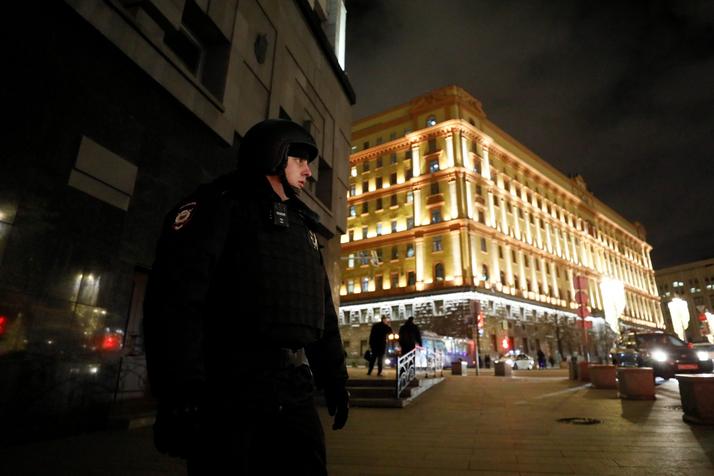 A security officer blocks a street near the Federal Security Service (FSB) building after a shooting incident, in Moscow, Russia December 19, 2019. REUTERS/Shamil Zhumatov