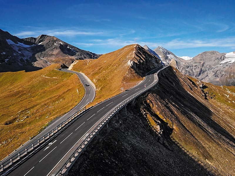 Aerial of Grossglockner road, Austria