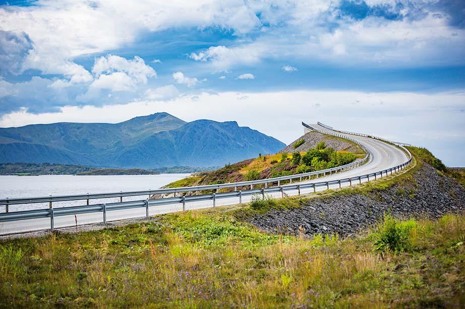 Norwegian landscape with famous Atlantic Road bridge