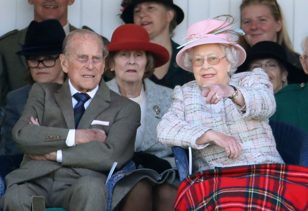 BRAEMAR, SCOTLAND - SEPTEMBER 02:  Queen Elizabeth II and Prince Philip, Duke of Edinburghwatch the 2017 Braemar Gathering at The Princess Royal and Duke of Fife Memorial Park on September 2, 2017 in Braemar, Scotland.  (Photo by Chris Jackson/Getty Images)