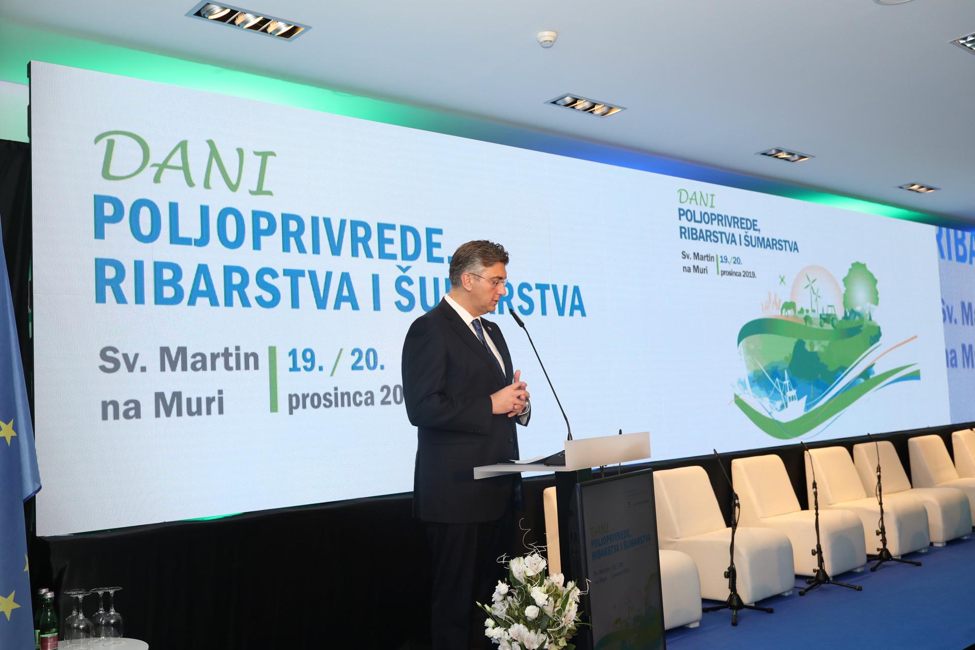 Hrvatski premijer Andrej Plenković na konferenciji Dani poljoprivrede, šumarstva i ribarstva, 19. i 20. prosinca u Svetom Martinu na Muri