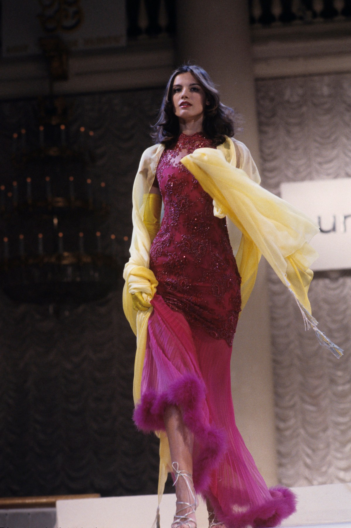5851429 26.04.1996 Emanuel Ungaro's collection showcased at the Column Gall of the Unions House in Moscow. A beaded evening dress trimmed with fur., Image: 427480431, License: Rights-managed, Restrictions: , Model Release: no, Credit line: K. Kartashyan / Sputnik / Profimedia