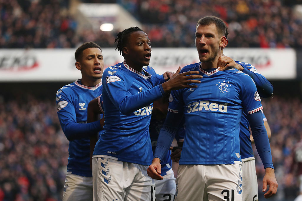 GLASGOW, SCOTLAND - DECEMBER 01: Borna Barisic of Rangers is seen after Alfredo Morelos of Rangers scores the opening goal during the Ladbrokes Premiership match between Rangers and Hearts at Ibrox Stadium on December 01, 2019 in Glasgow, Scotland. (Photo by Ian MacNicol/Getty Images)