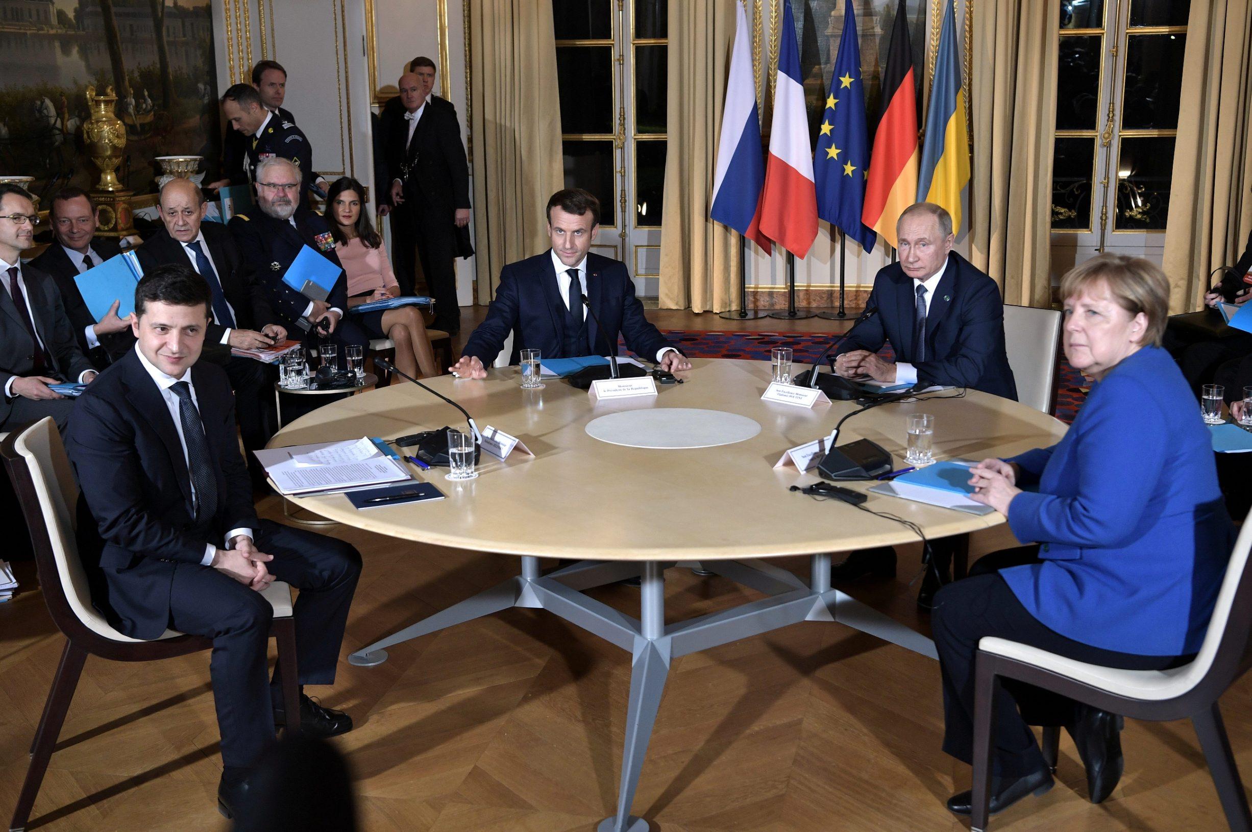 Ruski predsjednik Vladimir Putin, francuski predsjednik Emmanuel Macron, njemačka kancelarka Angela Merkel i Ukrajinski predsjednik Vladimir Zelenski tijekom summita u Parizu, 9.prosinac, 2019.