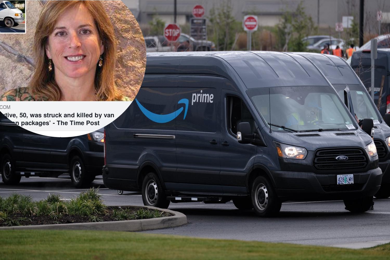 Ilustracija, financijska direktorica Amazona Joy Covey i dostavni kombi Amazona